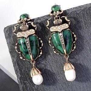 Green Scarab Earrings